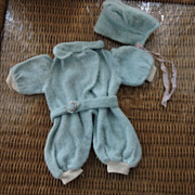 Sky-Blue Belted Romper and Bonnet