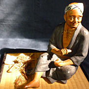 SALE Realistic Vintage Japanese Hakata Doll - Fisherman Figure