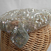 SALE Vintage Designer Opalescent Sequined c.1940's Lady's Hat