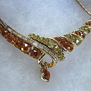 SALE Coro Golden Hues Rhinestone Necklace