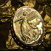 SALE Angelic Carved Cameo Abalone Angel Pin/Pendant Very Unique