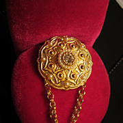 "Unsigned Beauty...Vintage Brooch with double chain ""dangle"" stunning piece!"