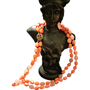 Coral & Pink Vintage 2 strand Beaded Necklace with Rose Clasp