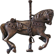Fabulous Handcast Bronze Carousel Pin with Great Patina