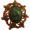 Unsigned Beauty!  Fabulous Art Glass faux Jade & Pearl Vintage Pin