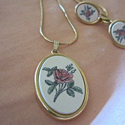 Beautiful signed Etched Rose Pendant & Earrings Barlow Scrimshaw