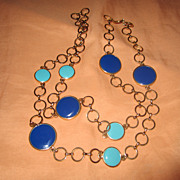 Mid Century Modern Enamel 30&quot; Necklace