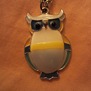 Mid Century Enameled Owl Pendant