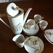 Painted Hutschenreuther coffee set. Coffee pot, saucers and cups, milk jug, sugar bowl. Vintag