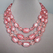 Pink bead necklace. Vintage restored romantic jewelry.