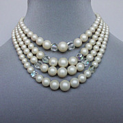 Vintage faux pearl necklace. Upscale costume jewelry
