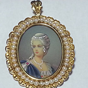 SALE 18K Portrait Pin Pendant With Cultured Freshwater Pearls