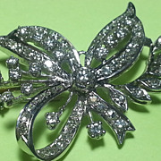Retro Era 14K White Gold Diamond Bow Pin 1 CTTW