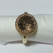 14k Yellow Gold Round Smoky Quartz Ring