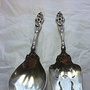 SALE Reed and Barton Sterling Large Serving Spoon & Fork Set