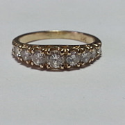 14k Yellow Gold 9 Diamond Anniversary Ring