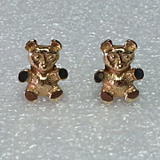 ADORABLE 14K Teddy Bear Pierced Earrings