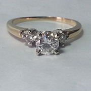 14K Yellow & White Gold 3 Diamond Ring