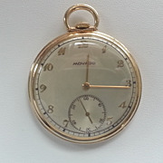 Unique 14k Yellow Gold Movado 25 Year Club Pocket Watch