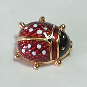 Vintage 18K Yellow Gold GUILLOCHE Enamel Ladybug Pin