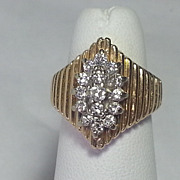 Vintage 14k Yellow Gold Diamond Ring  CTTW