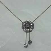 SUPERB Edwardian Silver & Gold 1.9 CTTW Diamond Necklace