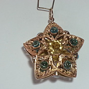 Unique 3 Dimensional 14k Citrine & Tourmaline Star Pendant
