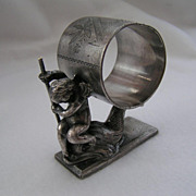 Rare 19th Century ROGERS & Bro. FIGURAL NAPKIN RING Holder with Cherub Angel on Fish