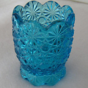 SOLD Beautiful LE Smith Glass Daisy and Button Toothpick Holder in Blue Turquoise