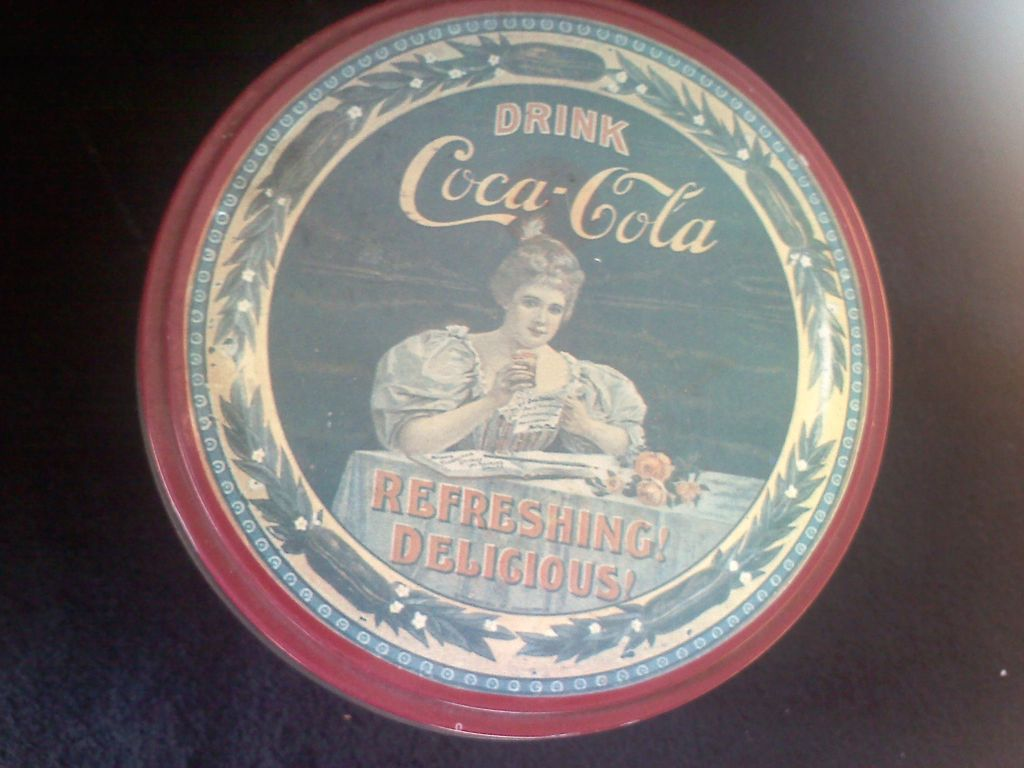 Vintage Coca-Cola Tin with Ad Refreshing! Delicious!