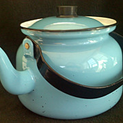 SALE Retro FINEL Enamel Tea Pot Robin's Egg Blue