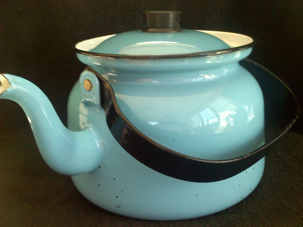 Retro FINEL Enamel Tea Pot Robin's Egg Blue
