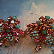 Stunning Vintage Austria Multicolor Rhinestone Earrings