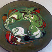 SALE Artistic Abstract Copper and Enamel Plate