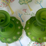 Vintage WESTMORELAND Satin Green Doric Candle Holders