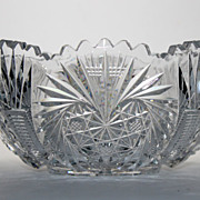 SALE Stunning American Brilliant Cut glass bowl with sawtooth rim