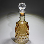 Amber Decanter Corked Stopper Vintage Pressed Glass