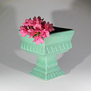 Vintage Pfaltzgraff Speckled Green Pottery Pedestal Planter