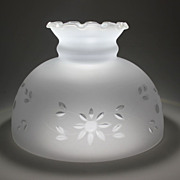 SOLD Ruffled Frosted Cut Glass Lamp Shade - Vintage