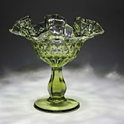 Fenton Green Glass Thumbprint Compote Ruffled Edge