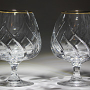PAIR Mikasa Brandy Gold Rim Preview Gold Crystal Pattern