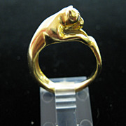 18k Yellow Gold Ring Cat w/diamond eyes