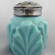 Palm Leaf Salt Shaker Consolidated Opaque Blue Milk Glass