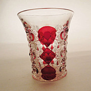 EAPG GLORIA Ohio Flint Ruby-Stained Flashed Pattern Pressed Glass Tumbler