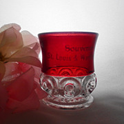 Co-Operative Flint Ruby Stain St. Louis World Fair ROYAL Toothpick Holder