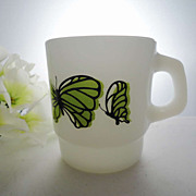Mug Fire King Anchor Hocking Stacking Mug Green Butterfly