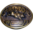 National Finals Rodeo Belt  Buckle 1977 Antiqued Brass Hesston