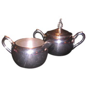F B Rogers Silver Plate Creamer and Lidded Sugar Matched Set
