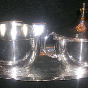 American Sheffield Silver Plate Cream/Covered Sugar Set with Sheridan Silverplate Tray