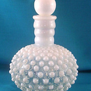 Fenton French Opalescent Hobnail Barber's Cologne Bottle with Stopper Vintage Pre-1970